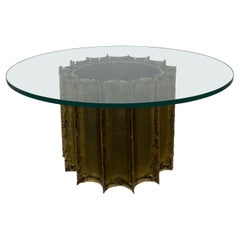 Tom Greene Brutalist Torch Cut Brass Round Coffee Table
