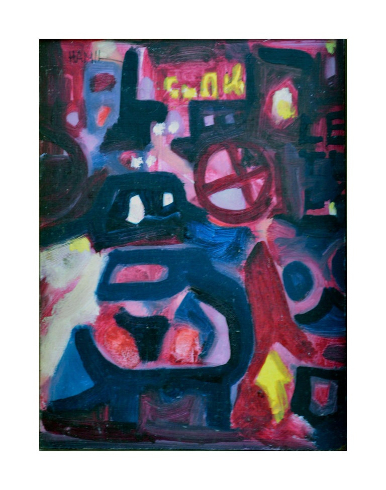 Nocturnal Train In The City Abstract Expressionism - Painting by Tom Hamil