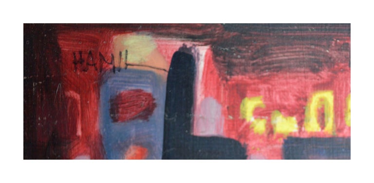 Nocturnal Train In The City Abstract Expressionism - Abstract Expressionist Painting by Tom Hamil