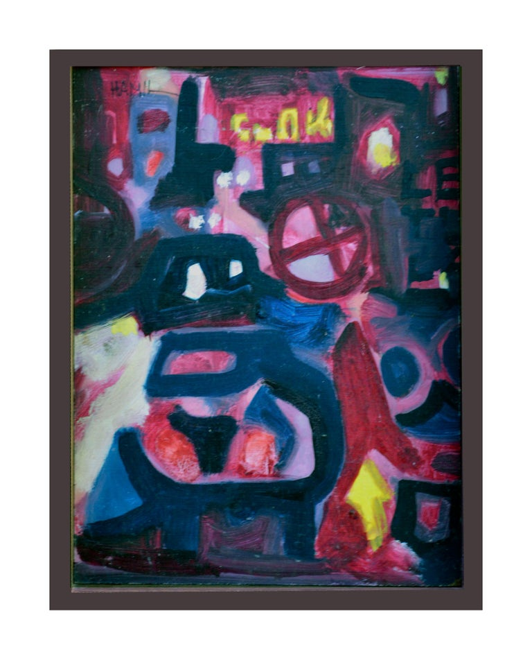 Tom Hamil Figurative Painting - Nocturnal Train In The City Abstract Expressionism