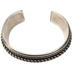Tom Hawk Native American Navajo Sterling Silver Rope Design Bracelet
