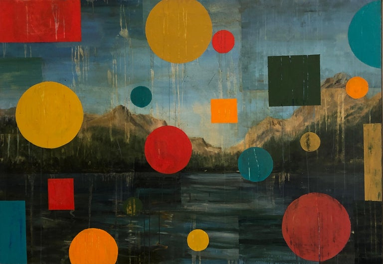 """Tom Judd Abstract Painting - TOM JUDD, """"WIlderness"""" oil on canvas, landscape with abstract colored shapes"""