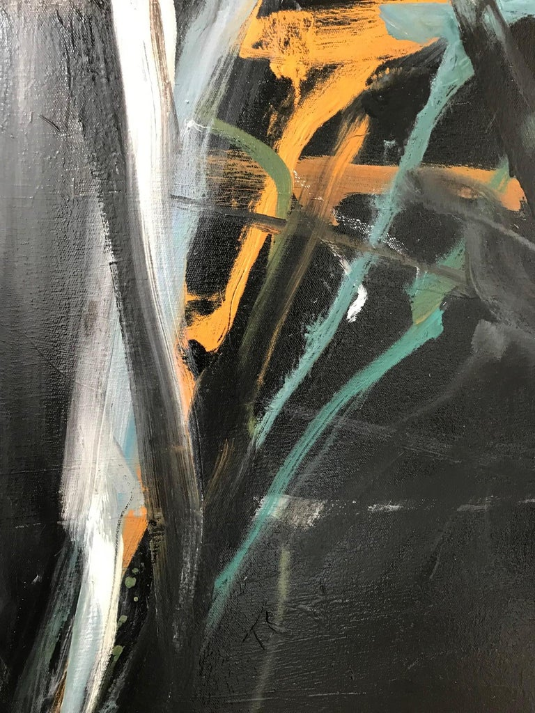 Island Moon - Black Abstract Painting by Tom Lieber