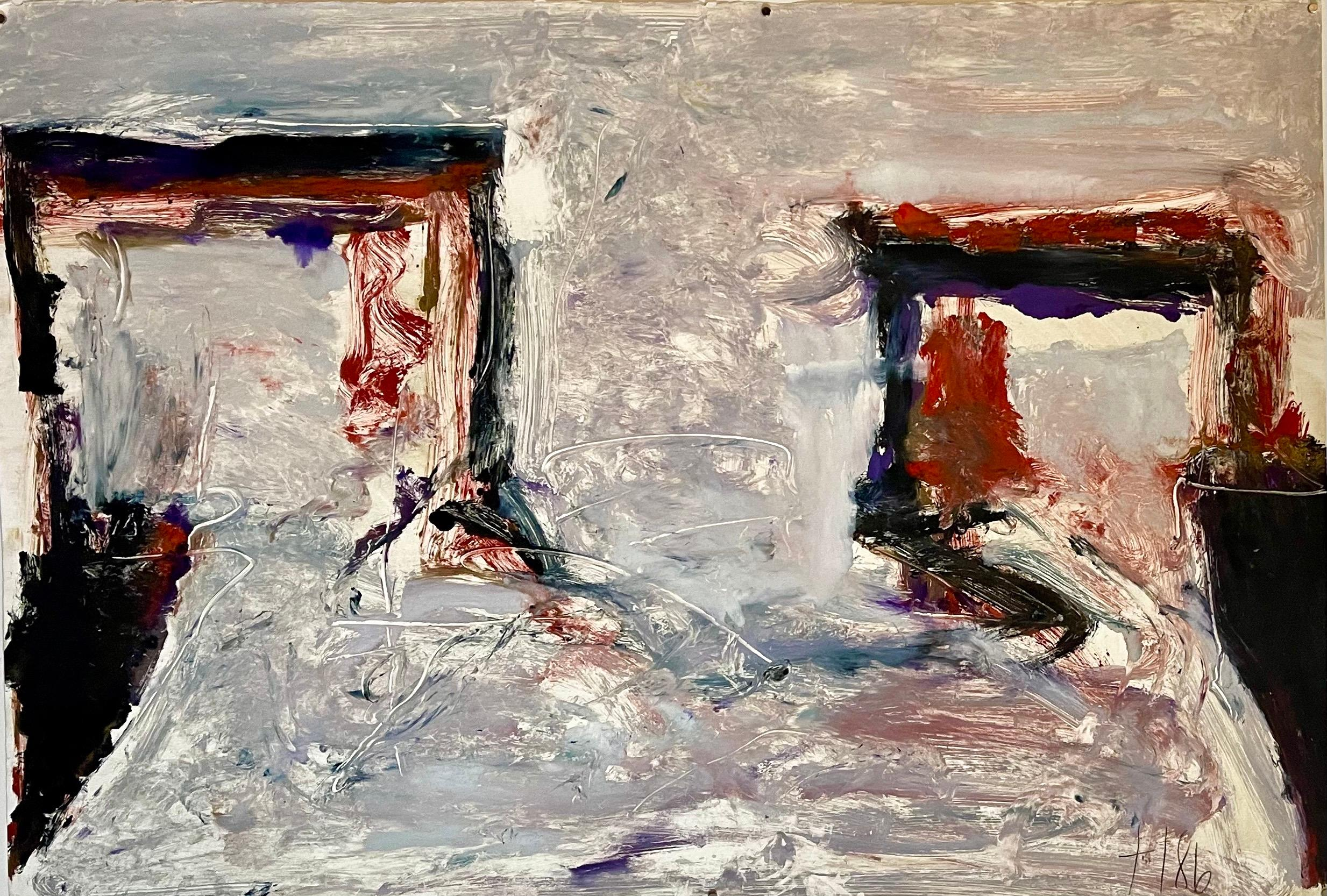 Large Abstract Expressionist Color Monotype, Oil Painting Tom LIeber