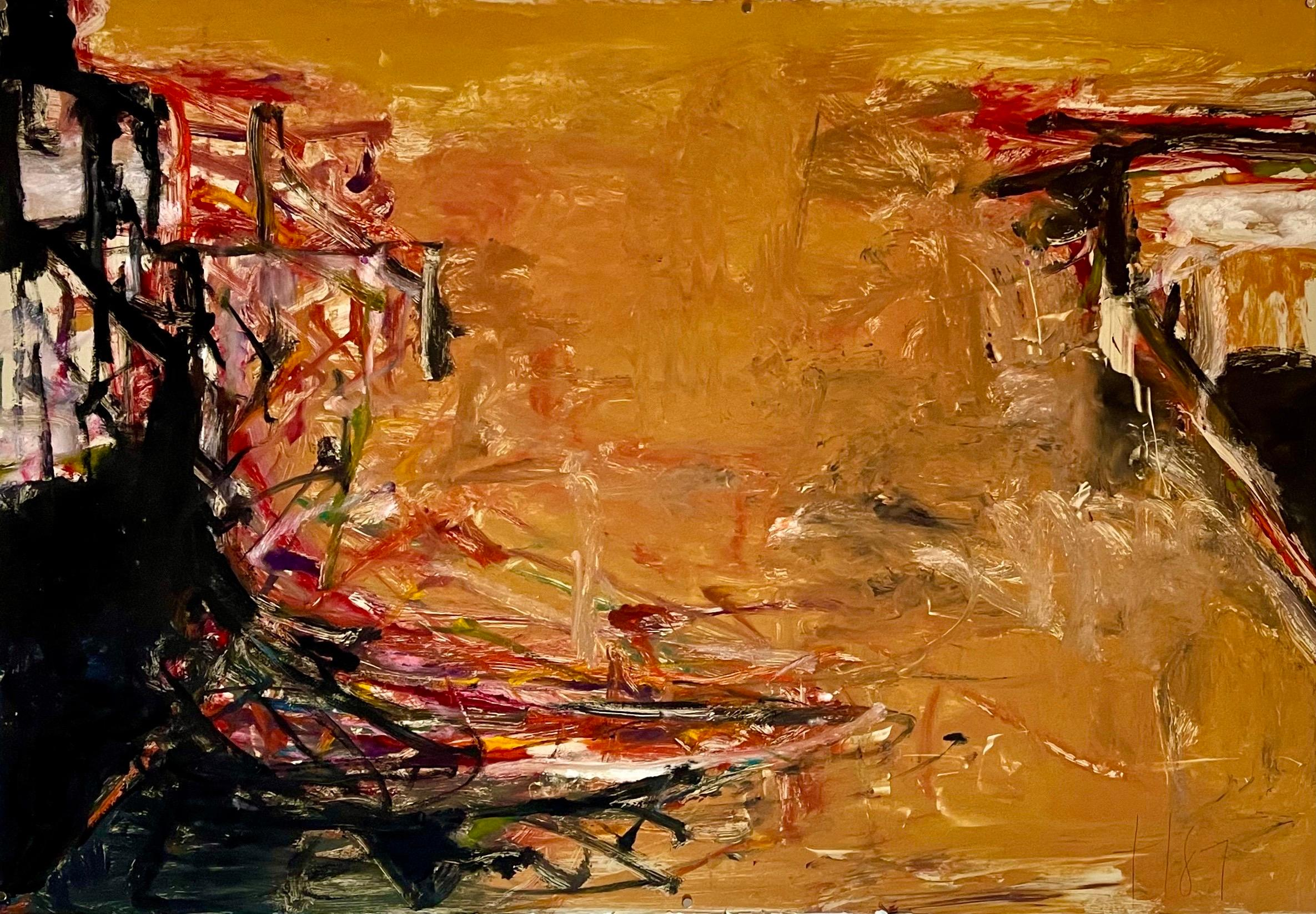 Large Abstract Expressionist Color Monotype Oil Painting Tom LIeber Mixed Media