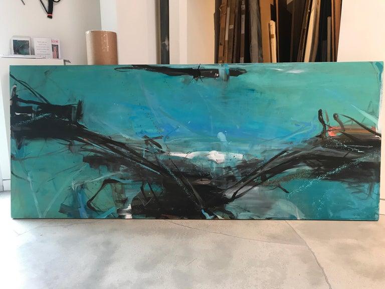 Longline - Blue Landscape Painting by Tom Lieber