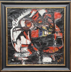 Abstract Composition - Danish Abstract COBRA art 1963 oil painting red black