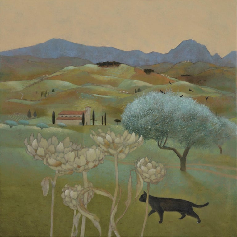Ever darkening tints below the Apennines - Painting by Tom Mabon
