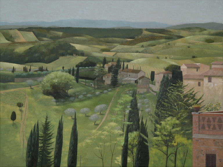 Landscape in Spring. San Gimignano - Painting by Tom Mabon