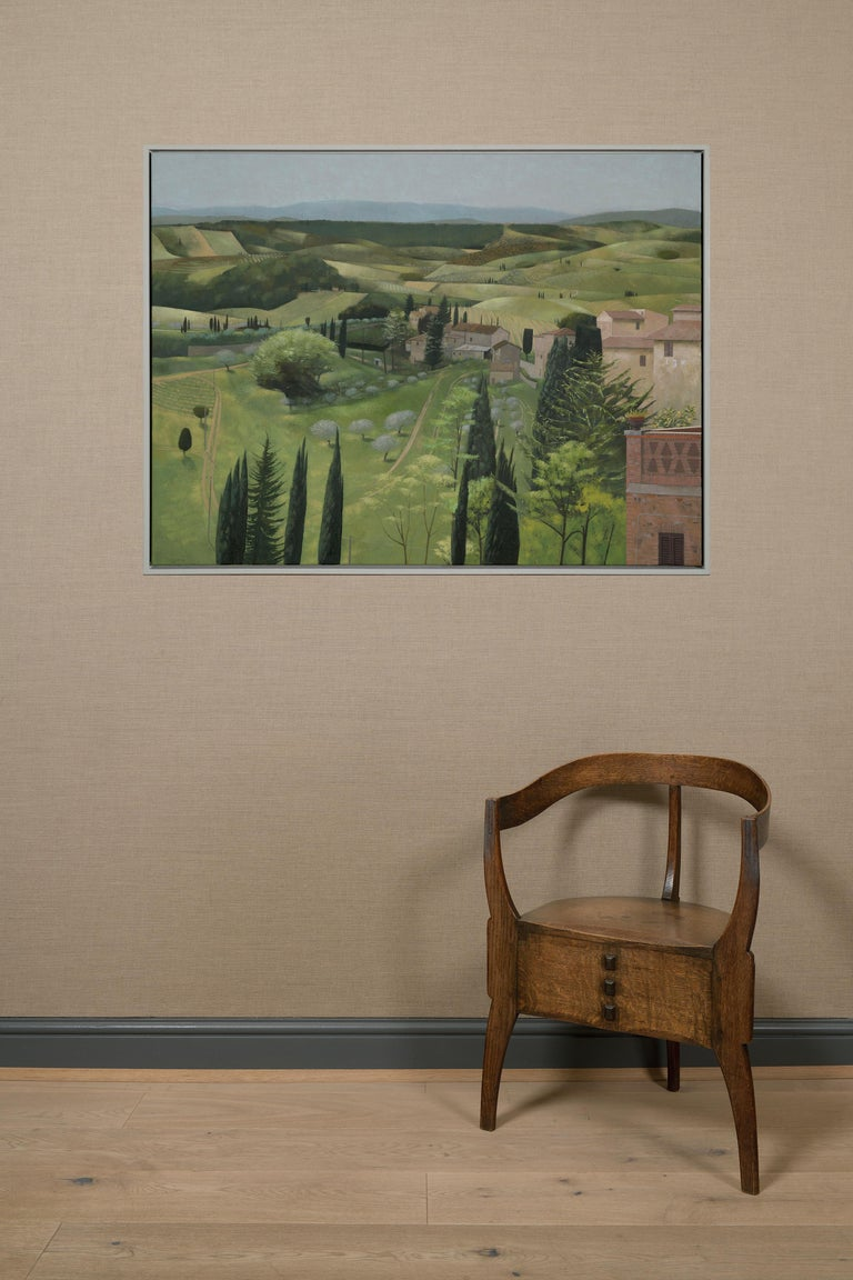 Landscape in Spring. San Gimignano - Contemporary Painting by Tom Mabon