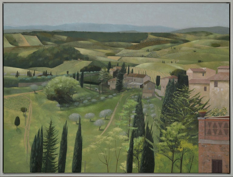 Tom Mabon Figurative Painting - Landscape in Spring. San Gimignano