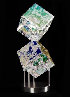 "'4"" Double Cube' Cut, Polished, Float, Glass, Crystal, Optic Dichroic Sculpture"