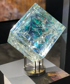 '8 Inch Cube', Cut, Polished, Float, Glass, Crystal, Optic Dichroic Sculpture