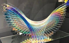 'Blue Monk Dichroic', Fused, Cut and Polished Dichroic Glass Sculpture