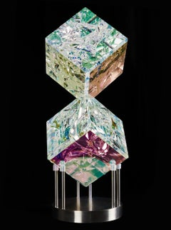 'Double Cube' Fused, Cut and Polished Dichroic Glass Sculpture