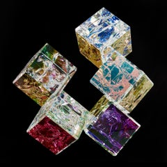 'Penta' Cut, Polished, Float, Glass, Crystal, Optic Dichroic Sculpture