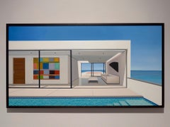 """Tom McKinley """"14th Floor Life"""" photorealist oil painting, blue sky and pool"""