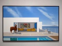 """Tom McKinley """"Bruno Maximus"""" photorealist oil painting, horse, interior, sky"""
