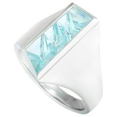 Tom Munsteiner Fantasy Cut Rectangle Aquamarine White Gold Wide Ring