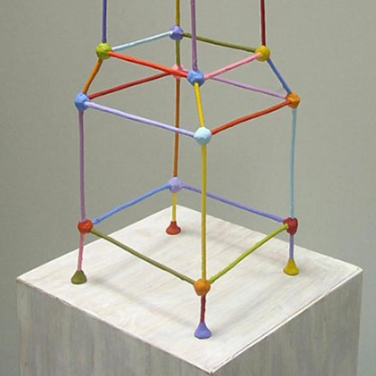 Tower - Gray Abstract Sculpture by Tom Nussbaum