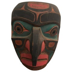 Tom Patterson Pacific Northwest Coast Kwaguilth Hawk Man Cedar Carved Mask