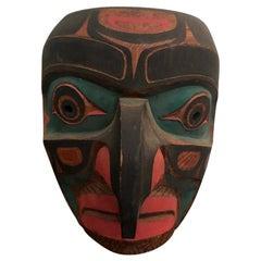Tom Patterson Pacific Northwest Coast Kwaguilth Hawk Man Cedar Carved Mask