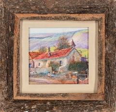 """1940-New Mexico Kids"" aka ""The Old Church"" Framed Mixed Media by Tom Perkinson"