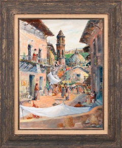 """1940 - The Morning Market"" Framed Mixed Media on Board by Tom Perkinson"