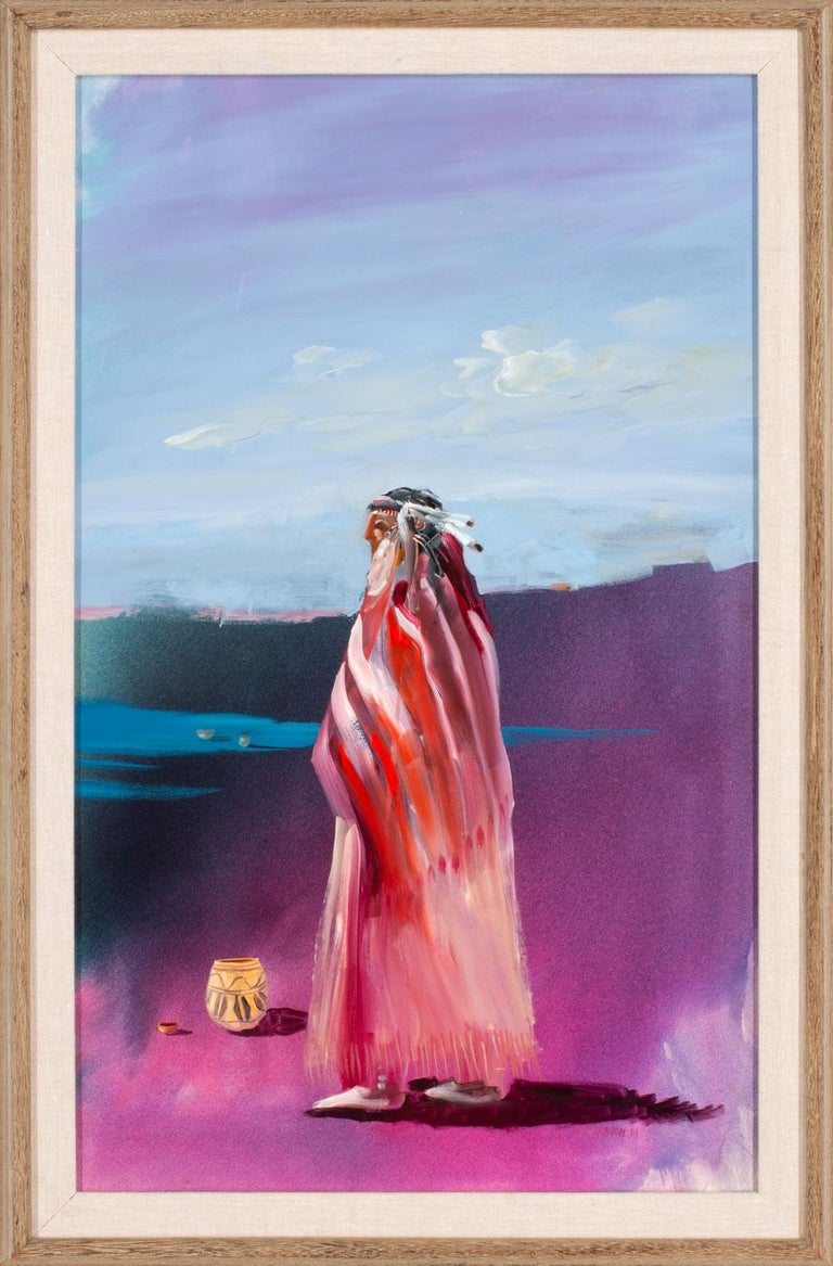 """""""Lone [American] Indian,"""" an original acrylic and mixed media on board by Tom Perkinson, is a piece for the true collector. His use of saturated violets, vivid yellows, and resplendent oranges pushes color to almost-otherworldly realms. Perkinson"""