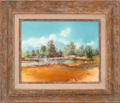 """""""Collecting Cattails"""" Original Mixed Media on Board by Tom Perkinson, Framed"""
