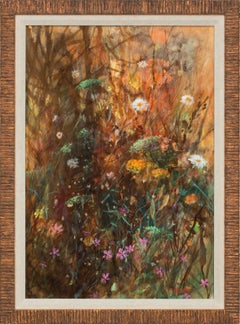 """""""Fennell"""" Original Mixed Media on Board Floralscape by Tom Perkinson, Framed"""