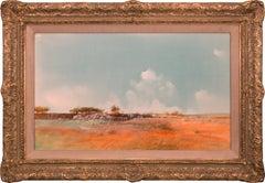 """""""Flat Lands"""" Original Landscape Mixed Media on Paper by Tom Perkinson, Framed"""