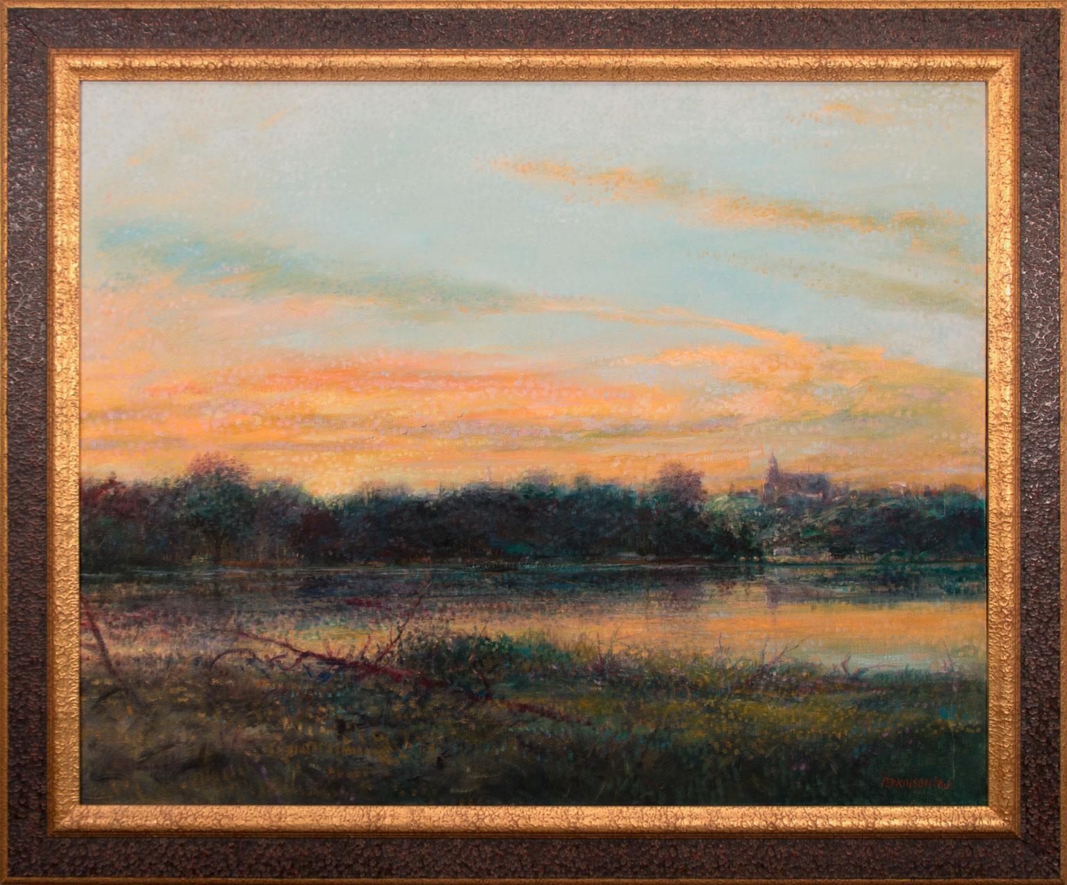 Large 4-Foot Acrylic on Canvas Realist Painting by Tom Perkinson, Framed