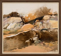 Rare Early Work, Mixed Media on Paper Realist Landscape by Tom Perkinson, Framed