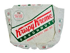 """Hyperrealist sculpture with white green and red, """"Krispy Kreme"""", acrylic on wood"""