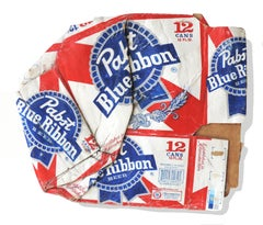 """Red white and blue hyperrealist sculpture, """"Pabst Blue Ribbon"""", acrylic on wood"""