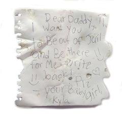 "White hyperrealist sculpture, ""Dear Daddy"", acrylic on wood"