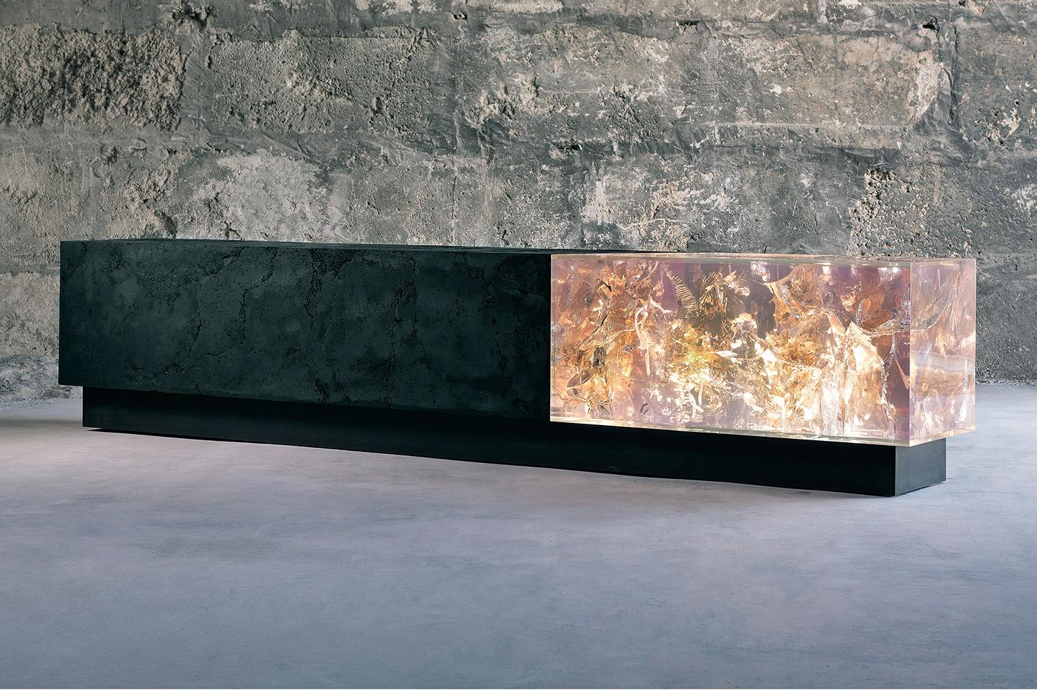 Counterpart II by Tom Price - coal & resin sculpture and bench