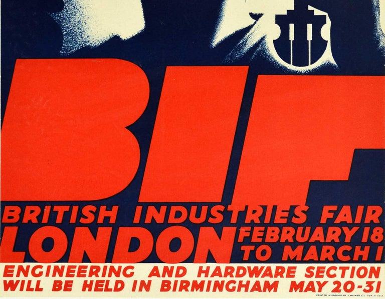 Original Vintage Poster BIF British Industries Fair London 1935 Art Deco Design - Black Print by Tom Purvis