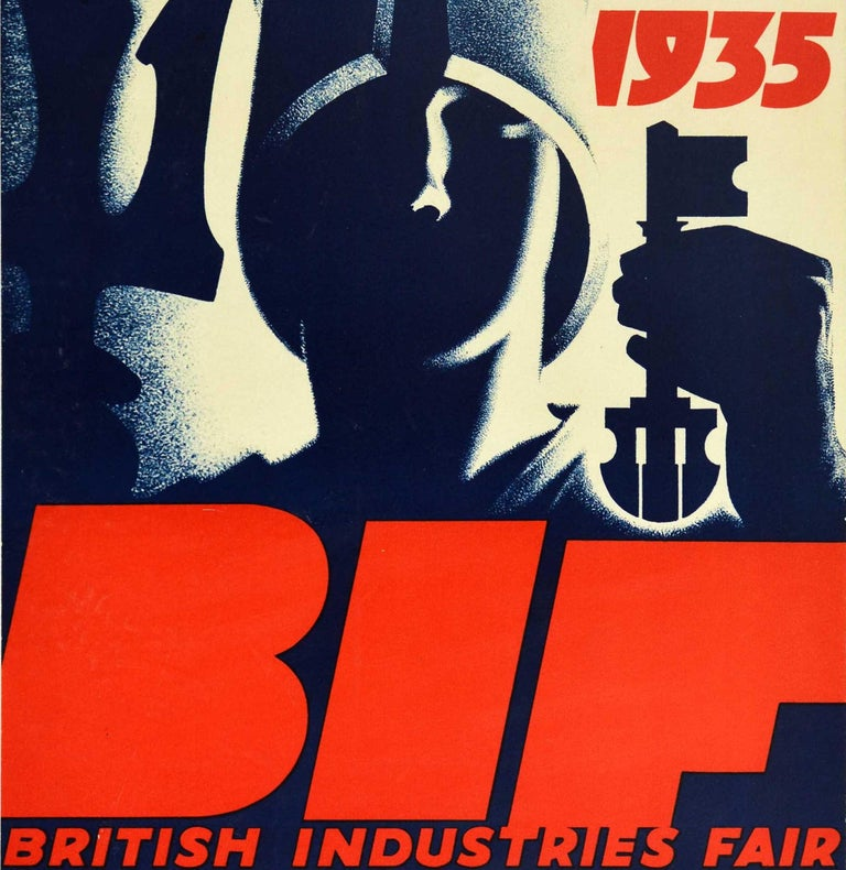 Original vintage event poster for the BIF British Industries Fair held in London from 18 February to 3 March 1935 Engineering and Hardware section will be held in Birmingham 20-31 May featuring a striking Art Deco design by Tom Purvis (1888-1959)