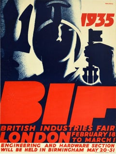 Original Vintage Poster BIF British Industries Fair London 1935 Art Deco Design