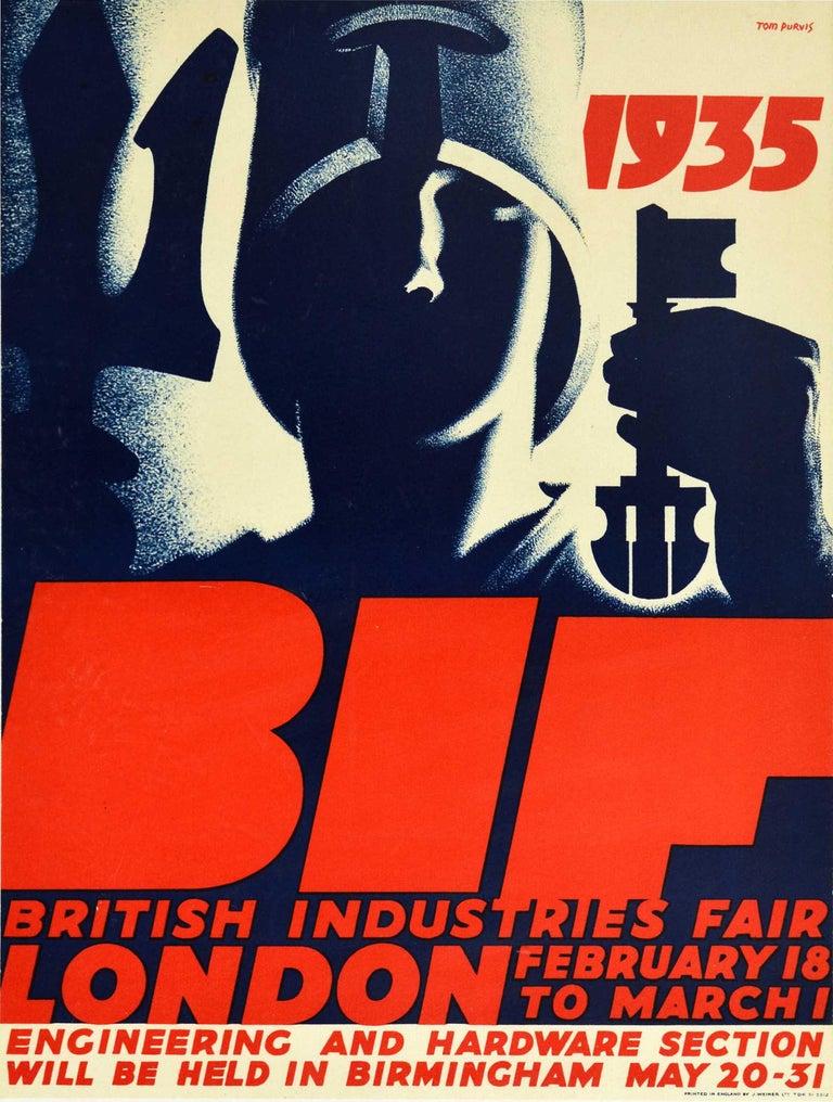 Tom Purvis Print - Original Vintage Poster BIF British Industries Fair London 1935 Art Deco Design