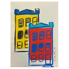 Tom Slaughter Modern Cityscape Original Acrylic Painting on Paper 1991 Unframed