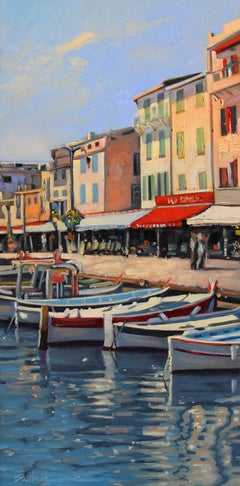 """""""Afternoon In Cassis"""" French Riviera Harbor With Brilliant Water Reflections"""