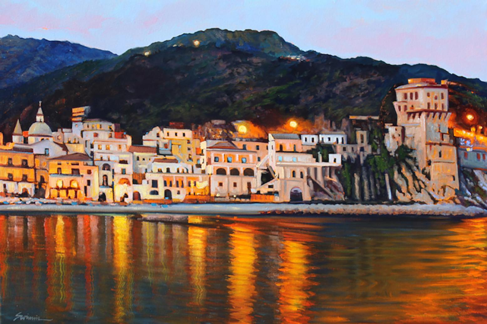 """Amalfi Coast Nocturne""  Oil Painting of Italy"