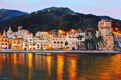 """Amalfi Coast Nocturne""  Oil Painting of Italy"