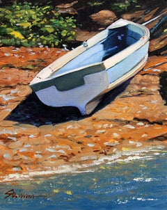 """Bay Shore Beach"" Oil of Boat and beach, shimmering water by Realist Tom Swimm"