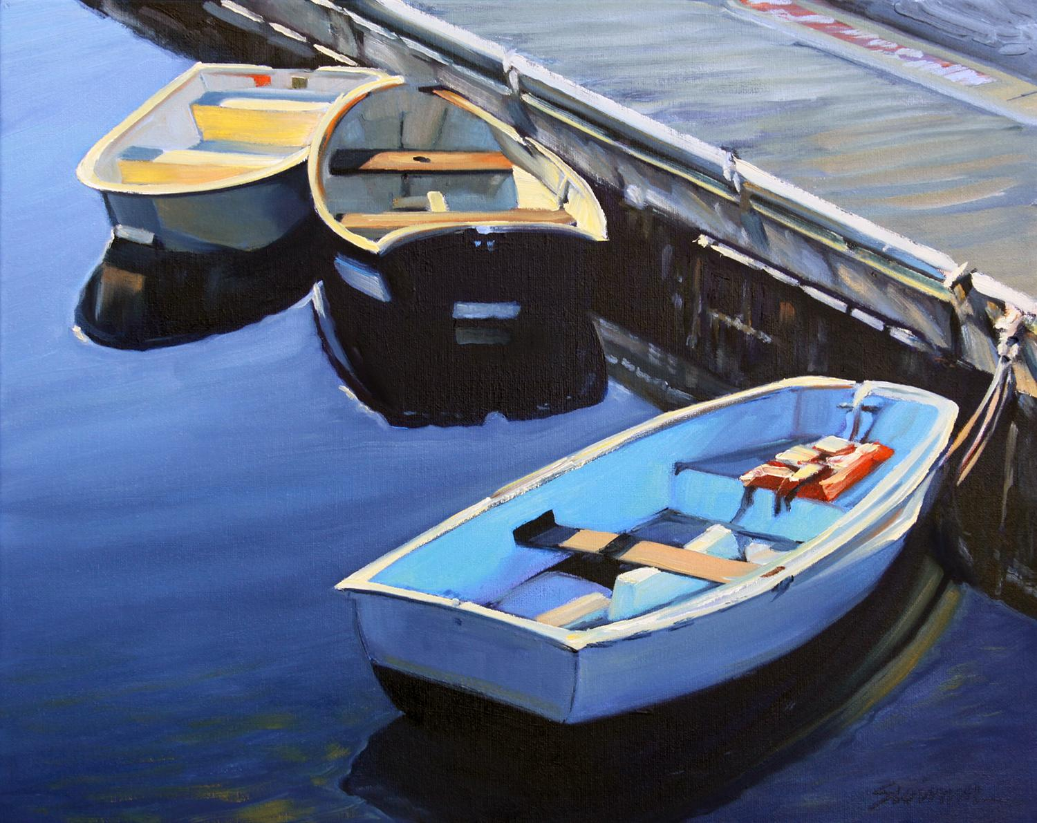 """""""Blue Morning""""  Three Row Boats With Deep Blue Water Reflections"""