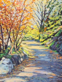 """Central Park Shadow""  Path with Colorful Shadows Oil Painting"