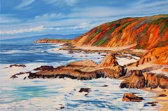 """""""Clouds & Surf"""" With Colorful Water Reflections Oil Painting"""